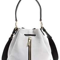 Women's Elizabeth and James 'Cynnie' Perforated Leather Bucket Bag - White