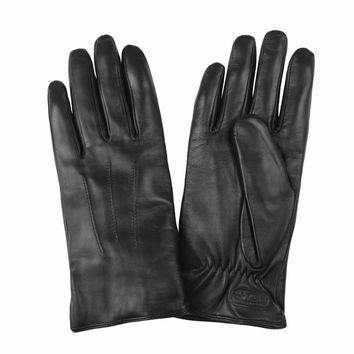 Touch Screen Leather Gloves in Black