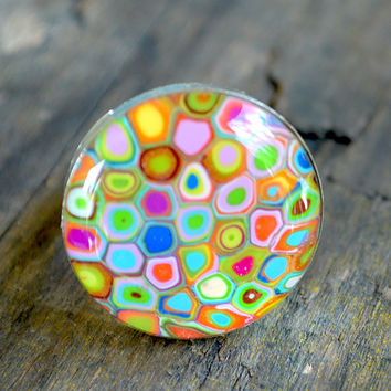 Micro Mosaic Polymer Clay Ring - Adjustable Silver Ring - Teen Ring