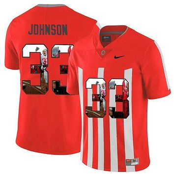 CREYO2N NIKE Jersey Ohio State Buckeyes Pete Johnson 33 College Printed Jersey Elite Fashion Player Jersey