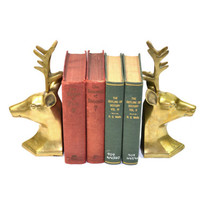 Vintage Brass Deer Bookends Brass Buck Bookends Christmas Deer Bookends Reindeer Bookends