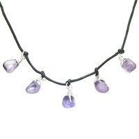 Brazilian Healing Lucky Charms Crystal Amethyst Gemstone Drops Pendant Necklace