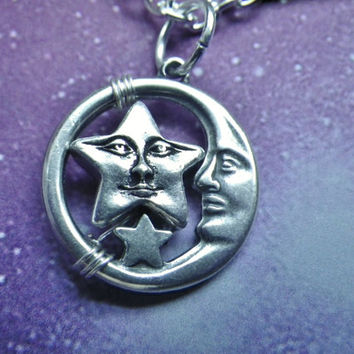 Moon and star face necklace