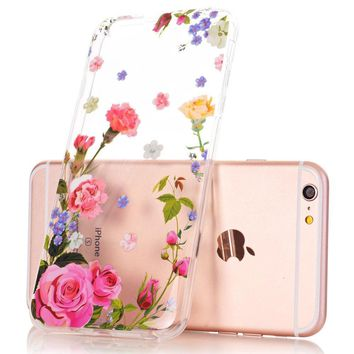 iPhone 6 Plus Case, iPhone 6s Plus Case, Floral Flower Design Clear Case, JDBRUIAN TPU Soft Protective Case Flexible Silicone Glossy Skin Cover Phone Case for iPhone 6 Plus & 6s Plus Pink Carnation
