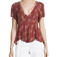 cinq a sept Whitley Floral-Printed Top w/ Satin Trim