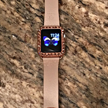 Rose Gold apple watch band and protective case in rose gold with Swarovski crystal details