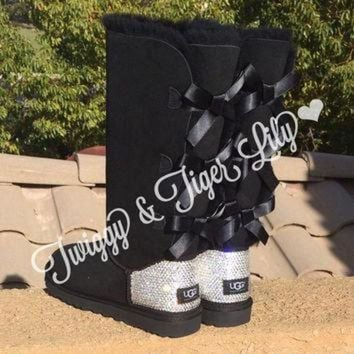 CUPUPS NEW - Black TALL Bailey Bow Uggs With Swarovski Crystal Bling Embellishment - Crystal