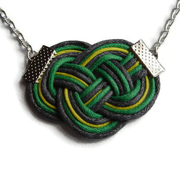 Knot Necklace, Cord Rope Necklace, Green Grey Yellow, Nautical Necklace, Chain Necklace, Sailor Knot, Love Knot Necklace, Gift for Her, OOAK