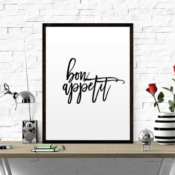 Bon Appetit Printable Wall Art Kitchen Print Instant Download Typography Kitchen Art Dining Room Print Art Black White Home Decor Print