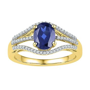 10kt Yellow Gold Womens Oval Lab-Created Blue Sapphire Solitaire Diamond Ring 1-3/4 Cttw