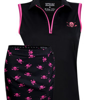 Sleeveless Women's Golf Shirt & Golf Skort (Black/Pink)