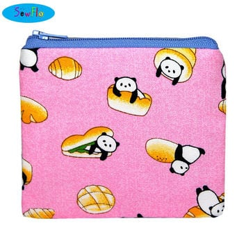 NEW! Food Coin Purse-Panda Change Wallet-Cute Zip Bag-Zipper Pouch-Bread Change Purse