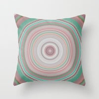 Pastel Ring Mandala Throw Pillow by Sheila Wenzel
