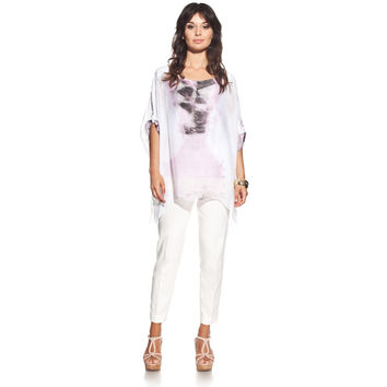 Silk blouse colour pink with boat neck and tie-dye print