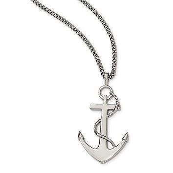 "Stainless Steel Polished Anchor Mariner Cross 24"" Necklace"
