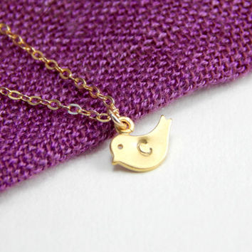 Small bird initial necklace, small gold bird necklace, initial necklace, gold necklace, gold bird charm, initial charm, everyday necklace