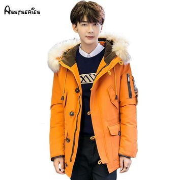 Free shipping 2018 Fashion Men Padded Parka Brand Winter Polyester Coat Thick Parkas With  Fur Collar 190hfx