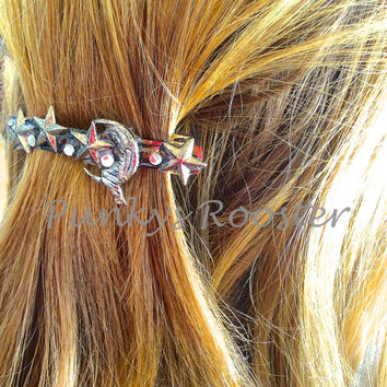 Steampunk Barrette, Moon and Stars with crystals,man on the moon, Star hair clip, Large Barrette