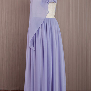 Long One Shoulder Dress / Light Purple Chiffon Prom Dress /Chiffon Bridal Shower Dress / Elegant Handmade Dress/ Formal Maxi Purple Dress