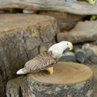 Ceramic Miniature  BIRD Bald Eagle in Flight  Ceramic  glazed statue figurines miniature