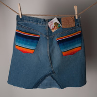 Vintage Levi Jean Skirt with Serape Pocket