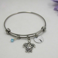 Turtle Bracelet Bangle - Birthstone Jewelry - Initial Charm - Birthday Bracelet - Zodiac Jewelry - Personalized Gift - Custom Bracelet