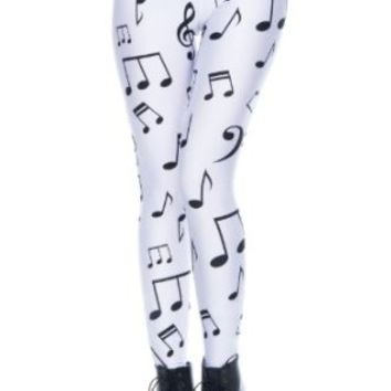 Romwe Women's Black Musical Notes Patterns Print Polyester Leggings-White-M