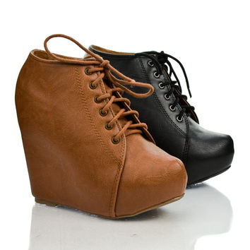 Jello Gray Pu By Soda, Pointy Toe Lace Up Ankle Platform High Hidden Wedge Heel Booties