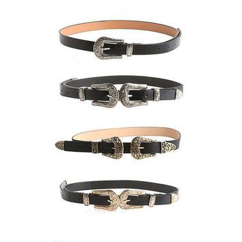 ac PEAPO2Q Women Lady Fashion Vintage Adjustable Punk Metalic Waistband Waist Belt Double Buckle Accessory