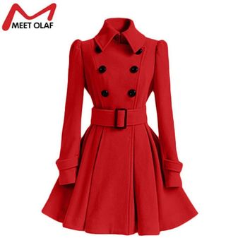 Women Trench Coat Winter Belt Buckle Trench Coats Double-Breasted Coat Casual Windbreaker Abrigos Mujer Cloak Casacos YL786
