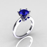 French 10K White Gold 1.5 Carat Blue Sapphire Designer Solitaire Engagement Ring R151-10KWGBS