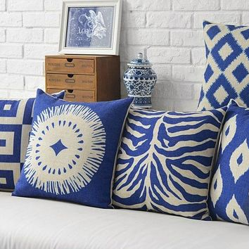A Classic Design Stripes Of Blue And White Porcelain Pillow Decorative Pillows Euro Cover  Arts Popular Painting Gift
