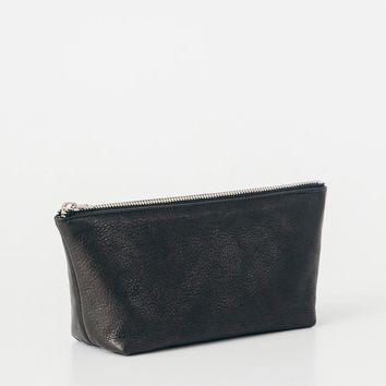 Small Leather Cosmetic Pouch Black