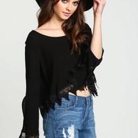 BLACK CREPE CROCHET BELL CROP TOP