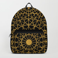 Geometric Circle Black and Gold Backpacks by Fimbis