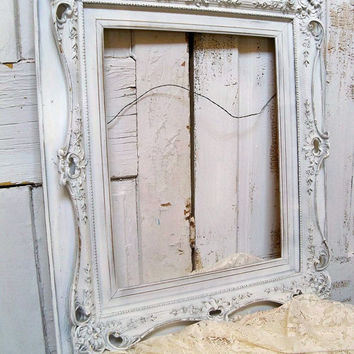 Large white ornate wood frame hand made and hand carved vintage/antique Anita Spero