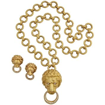 Van Cleef & Arpels Iconic Lion Door Knocker Earrings, Necklace and Pendant Set