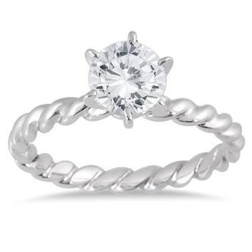 1 Carat Diamond Braided Antique Ring in 14K White Gold