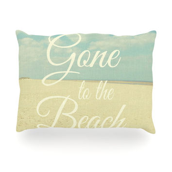 "Alison Coxon ""Gone To The Beach"" Tan Blue Oblong Pillow"