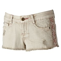 Mudd Embroidered Frayed Shortie Shorts - Juniors