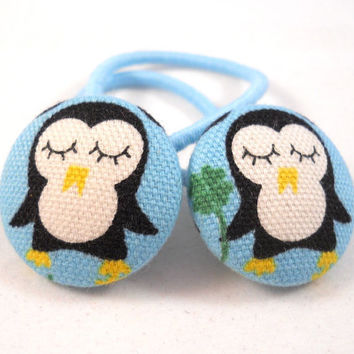 Kids Hair Accessories Ponytail Holders Penguins on Blue