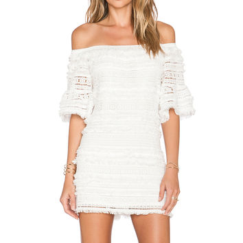 Alexis Pablo Fringe Mini Dress in White