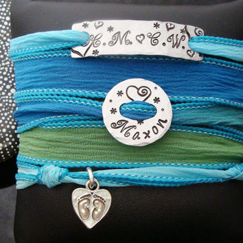 D2E Hand dyed silk wrap bracelet with Hand stamped family charms sterling silver baby footprints magnetic clasp