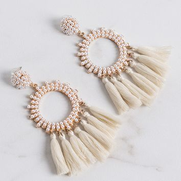 AKIRA Round Pearl Hoop Tassel Post Back Earrings in Rose Gold, Gold Cream