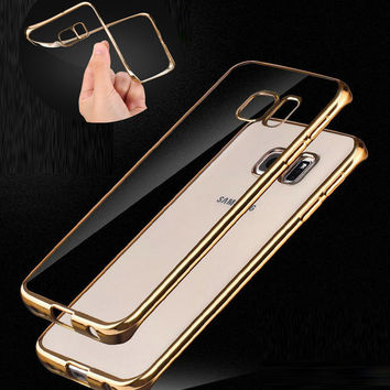 Plating Gilded TPU Soft Cover For Samsung Galaxy S6 Edge Plus S3 S4 S5 A3 A5 A7 2016  Phone Case For iphone 5 5s SE 6 6S Plus