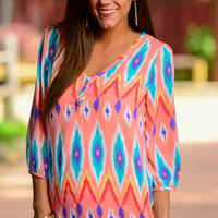 Aztec Watercolors Blouse, Peach