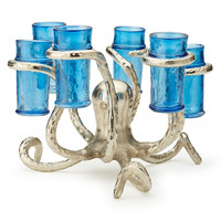 Tozai Home Octopus Design Glass Holder Includes 6 Shot Glasses - Silver with Blue Glass