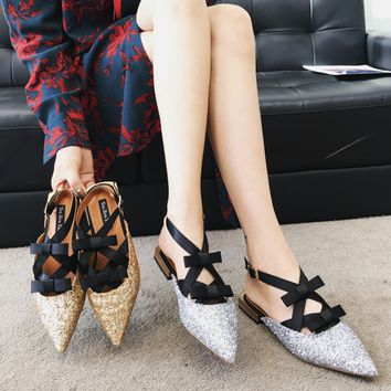 Women Fashion Gold Sequins Pointy Toe Straps Bow Ankle Strap Flats Slipper Shoes