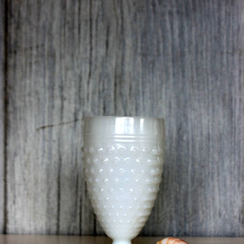 vintage hobnail milk glass goblet // pedestal water glass // white