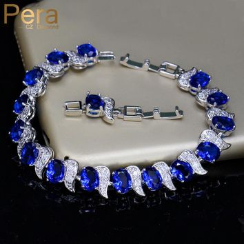 Pera European Design Natural Blue Cubic Zircon Crystal White Stone 925 Sterling Silver Jewelry Big Charm Bracelet For women B079